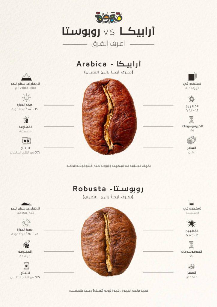 أرابيكا و روبوستا - إنفوجرافيك